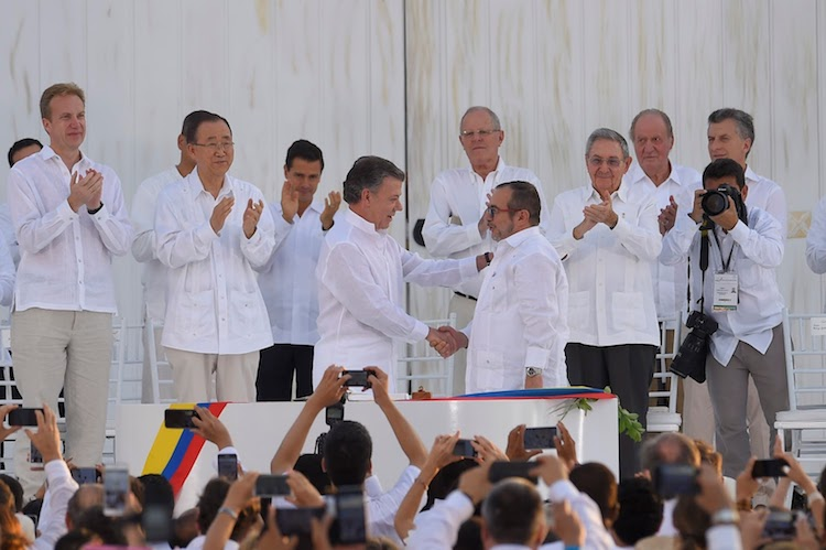 Photo: Signing of the peace agreement between the government of Colombia and FARC in Cartagena de Indias on 26 September 2018. Credit: Presidency of El Salvador