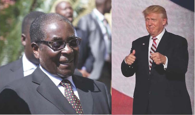 "Photo: Zimbabwe President Robert Mugabe about US President Donald Trump: ""When it comes to Donald Trump ... talking of American nationalism, well America for America, America for Americans – on that we agree. Zimbabwe for Zimbabweans; Give him time; Mr Trump might even re-look at the sanctions on Zimbabwe."" Credit: IDN-INPS collage."