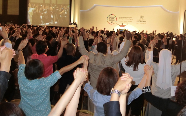 Photo: Participants applauding adoption of the Global Education Action Plan by the UN Department of Public Information/Non-Governmental Organization Conference, Gyeongju. Credit: Katsuhiro Asagiri | INPS JapanPhoto: Closing ceremony of the UN Department of Public Information/Non-Governmental Organization Conference, Gyeongju, Republic of Korea.
