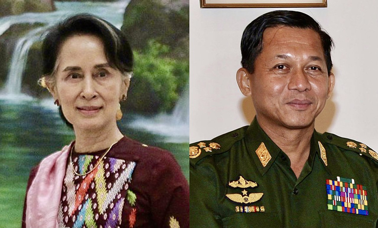 Photo: Collage of pictures of Aung San Suu Kyi (left) and Min Aung Hlaing (right) created on1 February 2021, the day of the coup. CC BY-SA 4.0