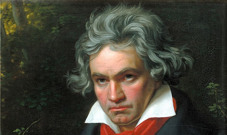 Photo (cropped): Portrait of Beethoven by Joseph Karl Stieler, 1820. Source: Wikipedia Com-mons.