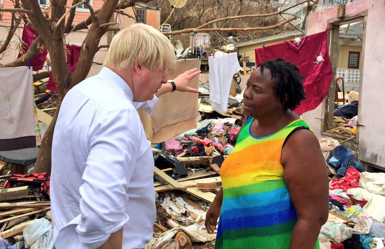 Photo: Johnson visited the British Virgin Islands after Hurricane Irma on 13 September 2020. Source: Wikimedia Commons