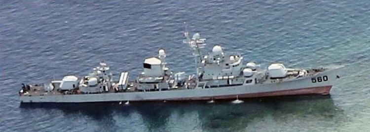 Image: The Chinese frigate, Dongguan, was temporarily grounded near Half Moon Shoal in 2012. Credit: Wikimedia Commons.
