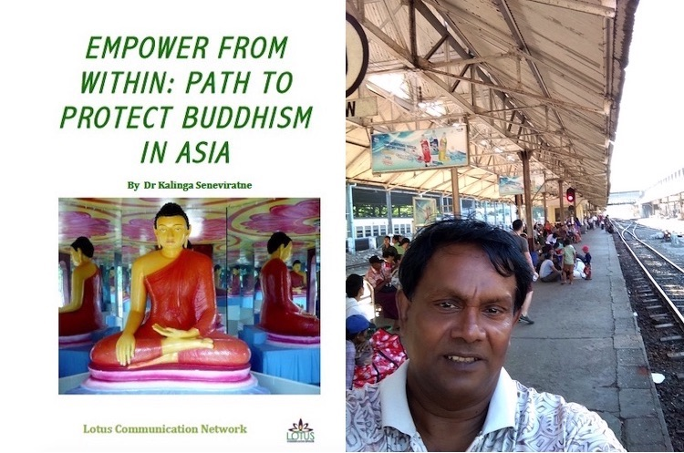 Photo: Collage of the book cover and Kalinga Seneviratne's picture at a railway station in a Southeast Asian country.