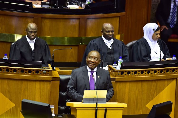 Photo: President Ramaphosa delivering his first State of the Nation Address on 3 March 2018. Credit. Wikimedia Commons.