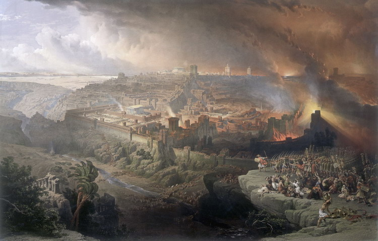 Photo: Roman siege and destruction of Jerusalem (David Roberts,1850). Credit: Wikimedia Commons.