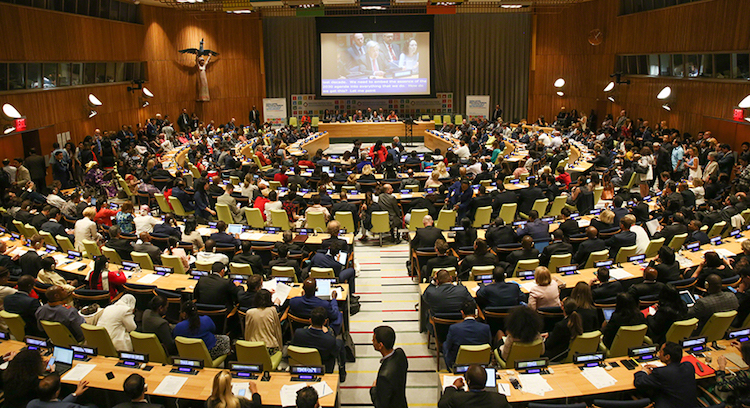 Photo: The 2018 High-Level Political Forum on Sustainable Development concluded on 16 July, following a full day of Voluntary National Reviews, and the continuation of the High-Level General Debate in the afternoon. A Ministerial Declaration was adopted during the closing session on the theme 'Transformation towards sustainable and resilient societies.' Photo by IISD/ENB | Kiara Worth