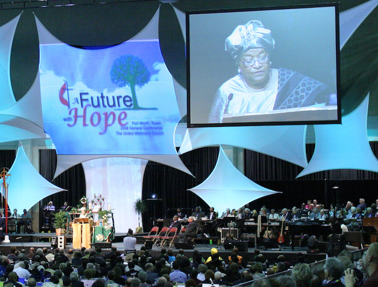 Photo: President Sirleaf addressing the 2008 General Conference of the United Methodist Church in Fort Worth, Texas. Credit: Wikimedia Commons.