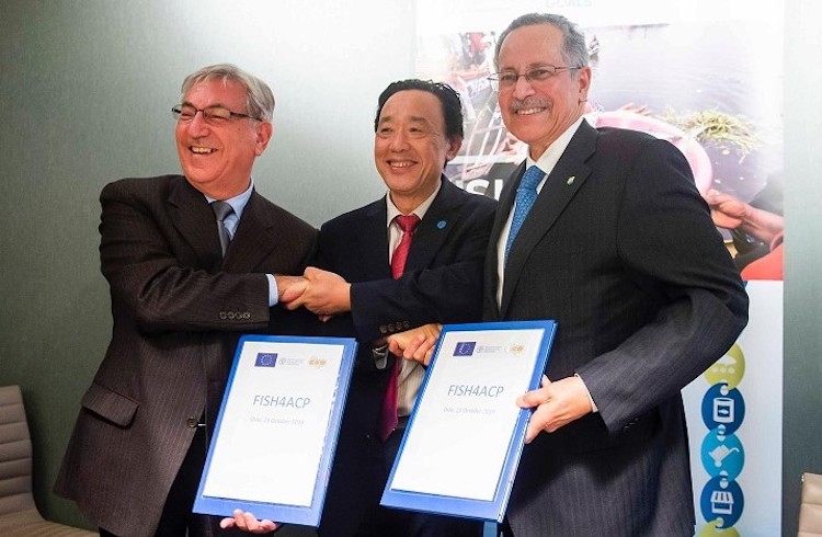 Photo (left to right): Karmenu Vella, EU Commissioner for Maritime Affairs and Fisheries, Qu Dongyu, Director-General of FAO, and Patrick I. Gomes, Secretary General of ACP.