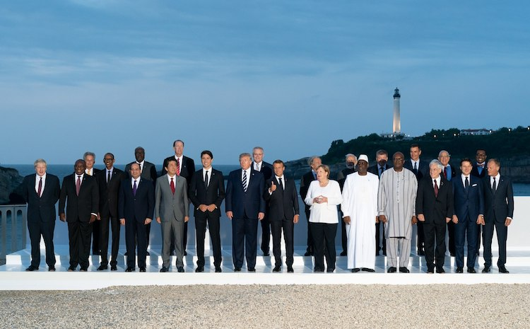 "Photo: President Donald J. Trump joins the G7 Leadership and Extended G7 members as they pose for the ""family photo"" at the G7 Extended Partners Program Sunday evening, Aug. 25, 2019, at the Hotel du Palais Biarritz, site of the G7 Summit in Biarritz, France. (Official White House Photo by Andrea Hanks)"