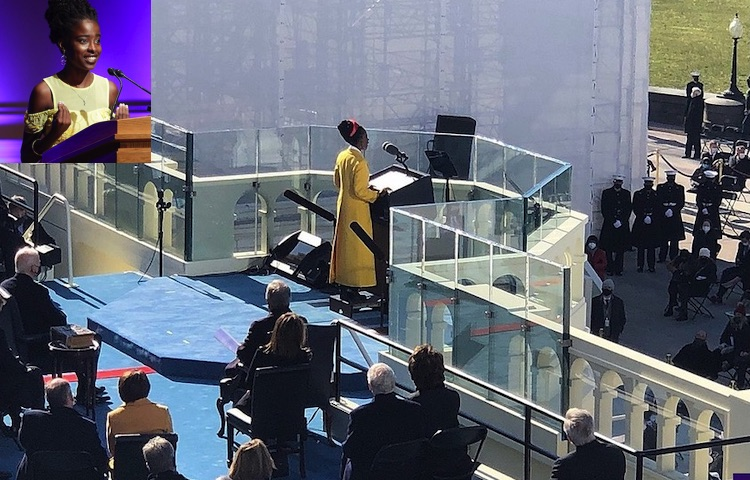 "Photo: Gorman reading her poem ""The Hill We Climb"" at the inauguration of Joe Biden in 2021. Source: Chris Coons 
