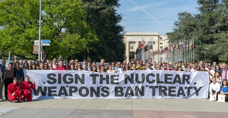 Photo: ICAN has campaigned for a ban treaty on nuclear weapons, inside and outside the United Nations headquarters, for over a decade, Credit: ICAN