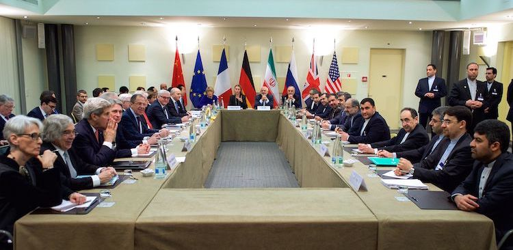 Photo: The ministers of foreign affairs of the United States, the United Kingdom, Russia, Germany, France, China, the European Union and Iran meeting in Lausanne in March 2015, a few weeks ahead of the nuclear deal was struck in Vienna. Credit: U.S. Department of State.