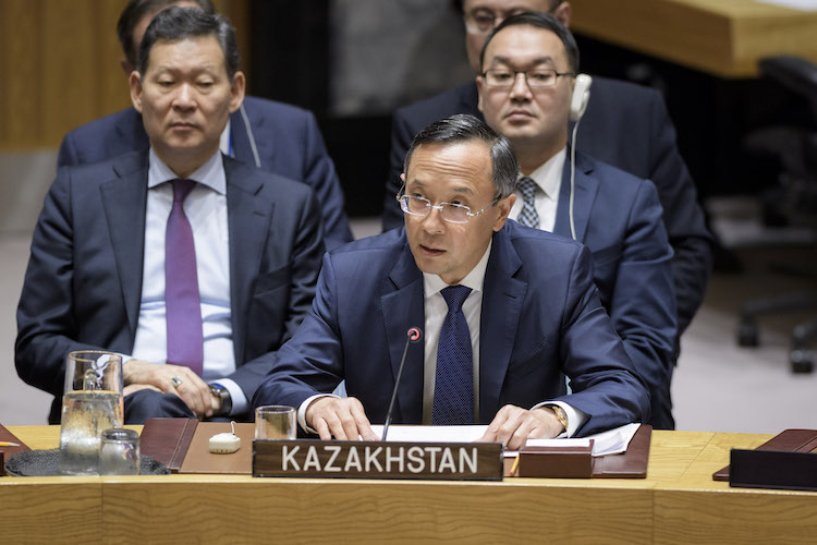 Photo: Kairat Abdrakhmanov, Minister for Foreign Affairs of the Republic of Kazakhstan, addresses the Security Council meeting on the maintenance of international peace and security, with a focus on non-proliferation of weapons of mass destruction. 26 September 2018, United Nations, New York. Credit: UN Photo/Manuel Elias