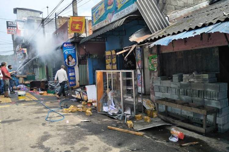 – 15 March 2018] Photo: Some of the shops that were set on fire at Katugastota near Sri Lanka's Kandy city on March 7, 2018. Credit: Meera Srinivasan | The Hindu