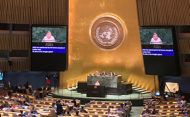 Photo: Karipbek Kuyukov, Artist and The ATOM Project Honorary Ambassador addresses the UN General Assembly on September 6, 2018. Credit: CTBTO.