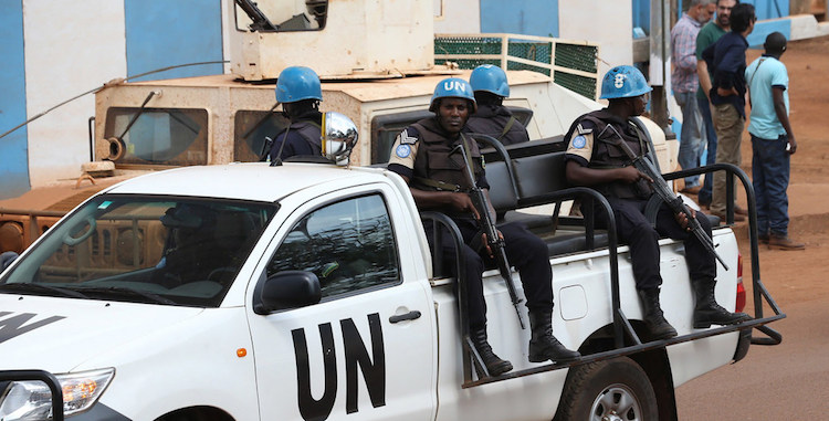Photo: UN Peacekeepers serving with the Multidimensional Integrated Stabilization Mission in the Central African Republic (MINUSCA) patrol the city of Bangui in 2017. UN Photo/ Hervé Serefio