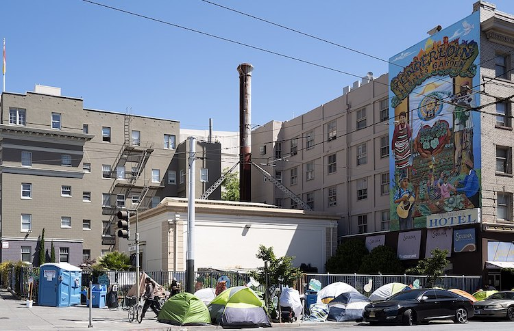Photo: Tents of the homeless in San Francisco, California, May 2020. CC BY 2.0