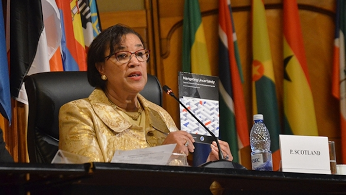 Photo: Commonwealth Secretary-General Patricia Scotland addresses parliamentarians from 79 African, Caribbean and Pacific (ACP) and 28 European Union (EU) countries at the ACP-EU Joint Parliamentary Assembly in Bucharest.