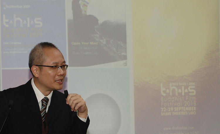 Photo: Puay Kim Teo speaking at the 1st Asian Buddhist Media Conclave in Delhi in August about the festival.