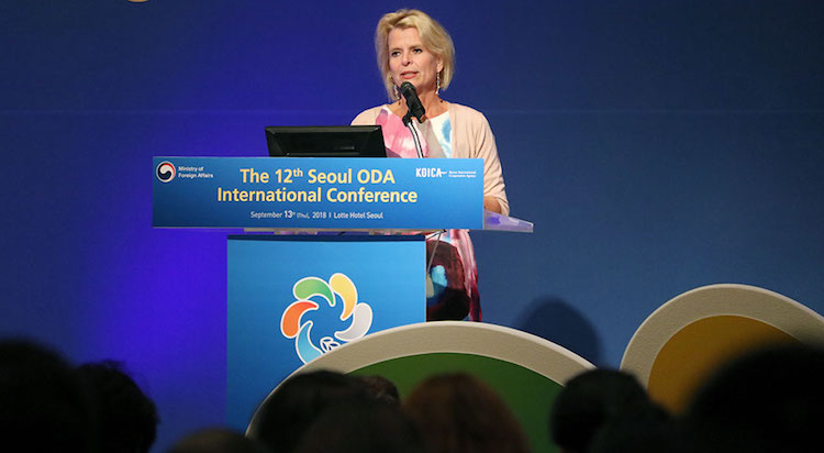"Photo: UN Women Deputy Executive Director Åsa Regnér speaks at the 12th ODA International Conference session on ""the role of inclusive ODA by realizing human rights and gender equality"" in Seoul, the Republic of Korea. Photo: UN Women/Younghwa Choi."