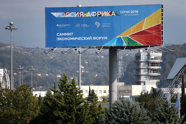 Photo: A banner promoting the 2019 Russia-Africa Summit and Economic Forum in Sochi on October 23-24 at the Sirius Park of Science and Art, in Sochi, October 19, 2019. Credit: Dmitry Feoktistov/TASS Host Photo Agency.