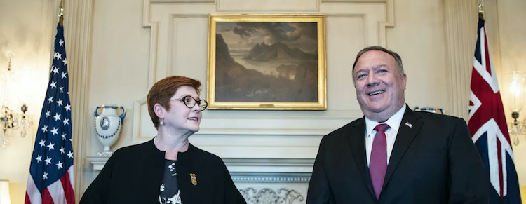 Photo: Australian Foreign Minister Marise Payne at a joint press conference in Washington on July 29 with her U.S. counterpart Mike Pompeo. Source: The Conversation