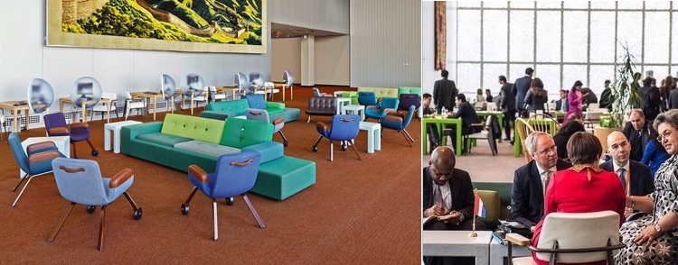 Photo: UN North Delegates' Lounge. Credit: dezeen.com and @NLatUN