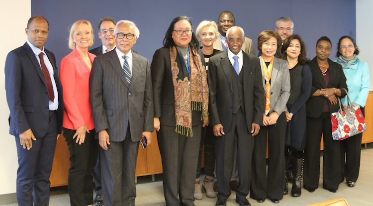 Photo: Fekitamoeloa Katoa 'Utoikamanu (centre), Under-Secretary-General, High Representative of the Secretary-General for the LDCs, LLDCs and SIDs, and the UN Secretary-General's representative on the Council of the Technology Bank for LDCs with Council members.