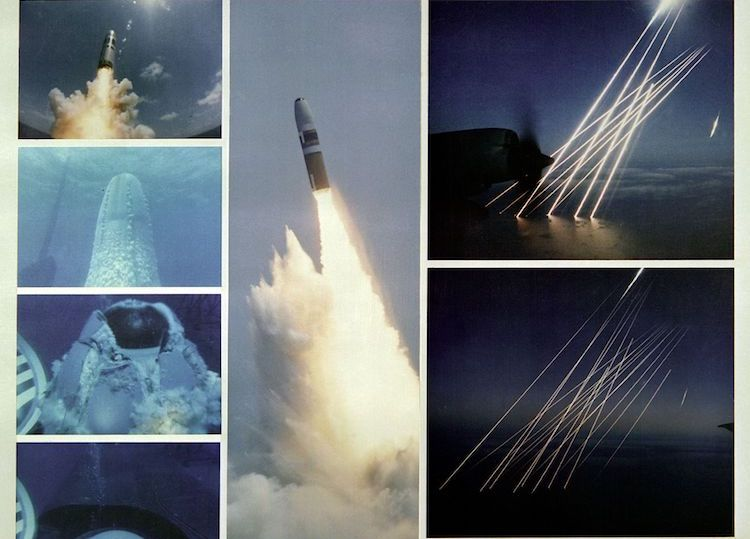 Image: Montage of an inert test of a United States Trident SLBM (submarine launched ballistic missile), from submerged to the terminal, or re-entry phase, of the multiple independently targetable reentry vehicles. Credit: Wikimedia Commons.
