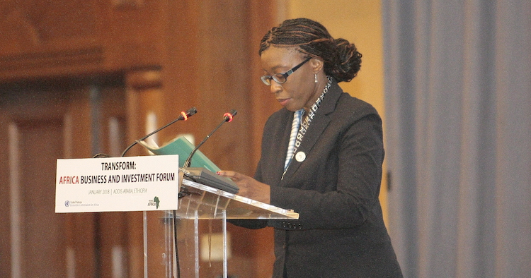 Photo: Dr Vera Songwe, the executive secretary of the United Nations Economic Commission for Africa (UNECA), addressing Africa Business and Investment Forum in Addis Ababa on January 30 on the margins of the African Union (AU) Summit. Credit: Jessica Hope