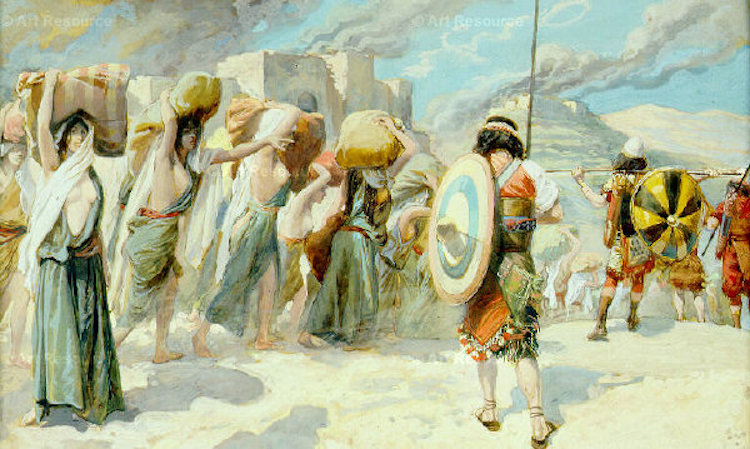 Image: Moses's army in the land now called Palestine attacked its resident tribes including the Midianites. Following their defeat, Moses told his victorious generals, God was ordering him to kill all the women and their young sons. The watercolor by James Tissot at the Jewish Museum, New York, shows 'The Women of Midian Led Captive by the Hebrews'. Credit; Wikimedia Commons.