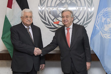 Secretary-General António Guterres (right) meets with Mahmoud Abbas, President of the State of Palestine. 14 January 2019 United Nations, New York