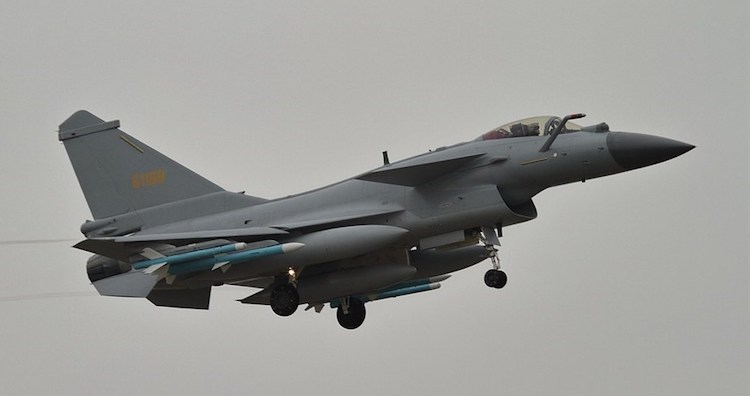Photo: One of the two Chinese warplanes which briefly crossed the Taiwan Strait median line in August 2020. Source: Alert5 / CC BY-SA 4.0)