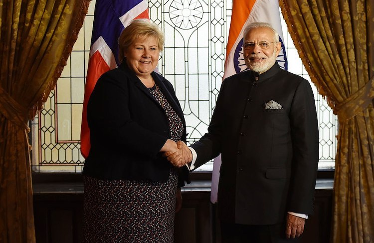 Photo: Prime Minister Narendra Modi meeting the Norway Prime Minister Erna Solberg on the sidelines of India-Nordic Summit, in Stockholm, Sweden on April 17, 2018. Credit: India PM's Office