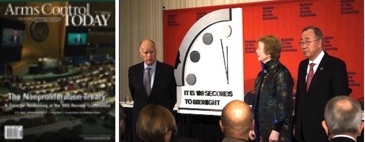 Photo: Collage with images from Arms Control Association and the Doomsday clock.
