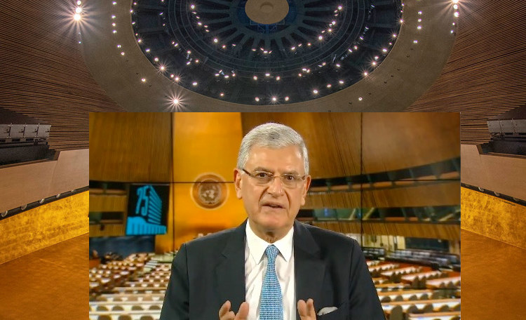 Photo: A collage of UNGA President Volkan Bozkir (UN picture) superimposed on a detailed view of Assembly Hall (UN Photo/Cia Pak).