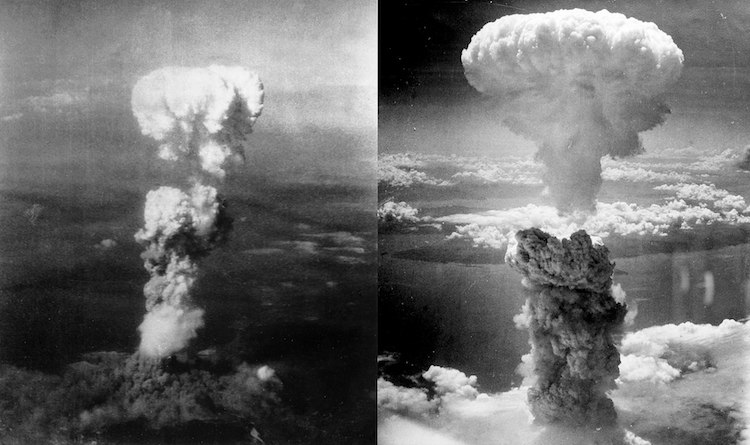 Photo: Two aerial photos of atomic bomb mushroom clouds, over Hiroshima on 6 August 1945 (left) and Nagasaki on 9 August 1945 (right). Source: Wikimedia Commons.