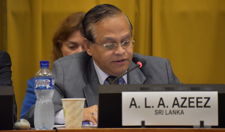 Photo: Ambassador  A.L.A. Azeez, Permanent Representative of Sri Lanka to the UN in Geneva, addressing the panel on nuclear disarmament at plenary meeting of the Conference on Disarmament on 30 July 2019 in Geneva. Credit: Sri Lanka Permanent Mission to the UN in Geneva.