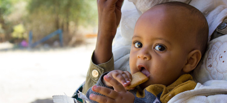 Photo: A seven-month-old baby displaced with his mother due to conflict in Tigray eats a high energy biscuit to boost his nutrition levels. Credit: UNICEF/Esiey Leul Kinfu