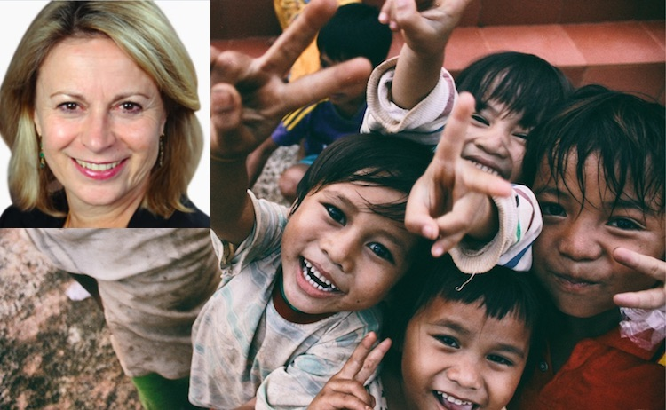 Photo: The index highlights the relationship between gender-based violence and child sexual abuse, says Dr. Joanna Rubinstein, President and CEO of the World Childhood Foundation USA, top left with children in the collage by IDN-INPS.