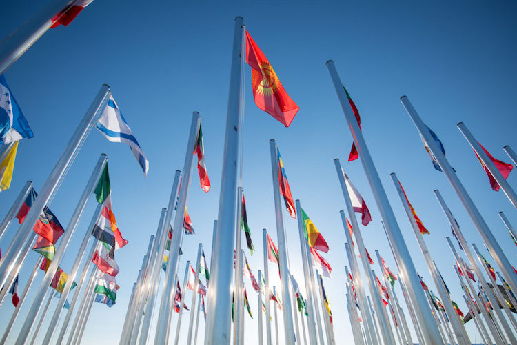 Image: Flags welcome visitors to the COP25 venue in Madrid. Photo: UN Climate Change / Flickr.