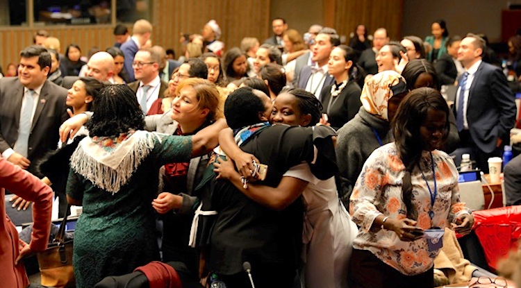 Photo: Participants rejoice as the 63rd session of the UN Commission on the Status of Women adopts Agreed Conclusions, delivering a roadmap that ensures women's social protection, mobility, safety, and access to economic opportunities. Photo: UN Women/Ryan Brown