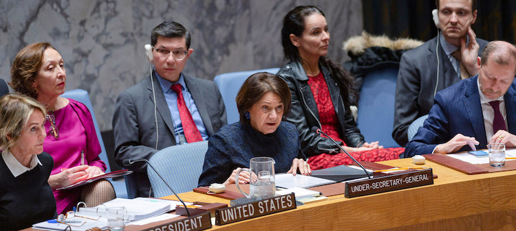 Photo: Rosemary DiCarlo, Under-Secretary-General for Political Affairs, briefs the members of the UN Security Council. UN Photo/Rick Bajornas