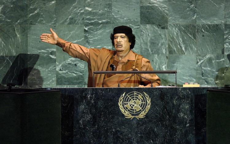 Photo Col Muammar el-Qaddafi of Libya addressing the UN General Assembly sessions in September 2009. Credit: United Nations