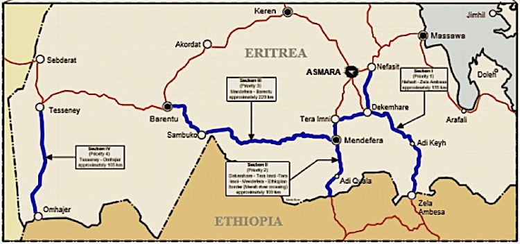 Map of project of EU road construction in Eritrea. Credit: EU