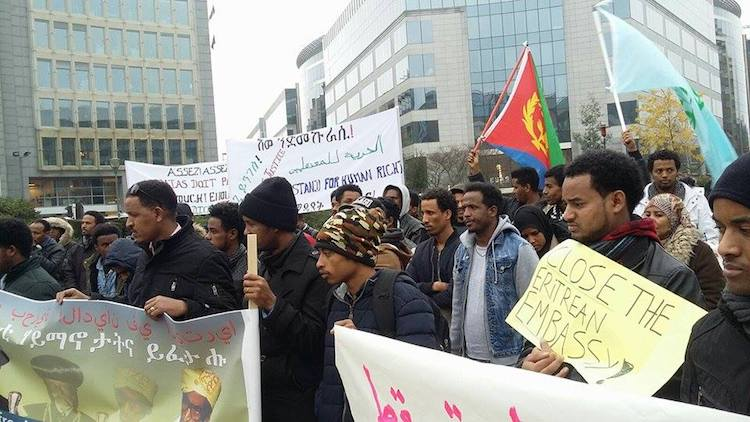 Photo: Eritreans protest next to the European Commission headquarters in Brussels. Credit: Klara Smits.