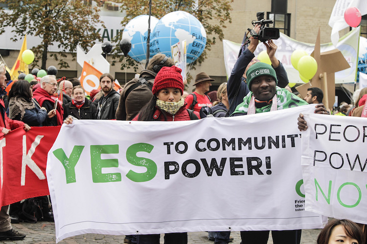 Photo: Over 20,000 people were mobilized in Bonn on 4 November 2017.to demand an end to coal and dirty energy and call for climate justice ahead of COP23. Credit: Amelia Collins/Friends of the Earth International