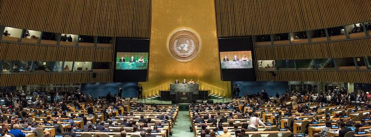 Photo: The General Assembly Hall during an event in 2016 to mark the one year anniversary of the adoption of the 2030 Agenda and the Sustainable Development Goals. UN Photo/Cia Pa