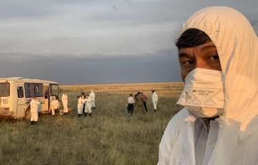 Katsuhiro Asagiri at Ground Zero of former Semipalatinsk Nuclear Test Site (Polygon)
